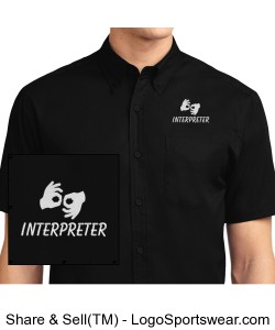 Dress Shirt, short sleeve - Mens - White Logo Design Zoom