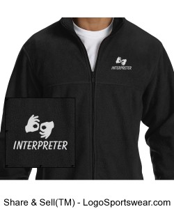 Fleece Jacket - Mens - White Logo Design Zoom