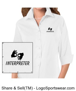 Dress Shirt 3/4 sleeve - Ladies - Black Logo Design Zoom