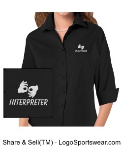 Dress shirt 3/4 sleeve - Ladies - White Logo Design Zoom